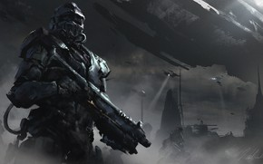 Picture Figure, Soldiers, Art, Take off, Darek Zabrocki, by Darek Zabrocki, 1h sci-fi sketch, Halo tribute