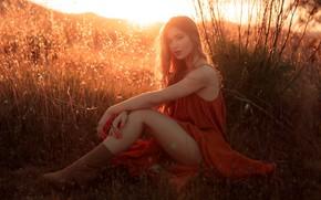 Picture look, girl, the sun, sunset, pose, model, dress, legs, David Mas