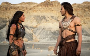 Picture look, girl, male, John Carter, Taylor Kitsch, Lynn Collins