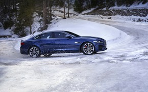 Picture road, snow, Jaguar, sedan, side view, the rise, Jaguar XF, 2020, XF