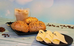 Picture coffee, Breakfast, cafe, roll, caffeine