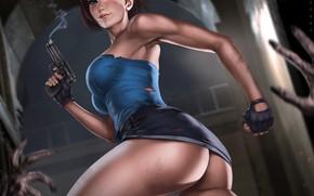 Picture ass, gun, skirt, art, art, jill valentine, nemesis, resident evil 3