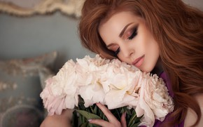 Picture girl, flowers, face, model, makeup, peonies, Elizabeth Bondarenko