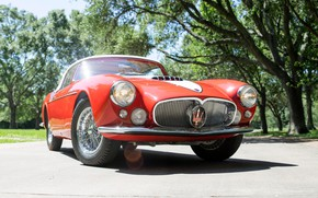 Picture Maserati, Bumper, Spokes, Lights, Classic, Chrome, 1956, Classic car, Grille, Maserati A6G/2000 Gran Sport Spyder
