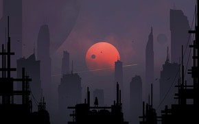 Picture The city, The moon, Silhouette, Skyscrapers, Art, Fiction, Digital Art, Sci-Fi, Skyscrapers, Satellites, Kvacm, Moons, ...