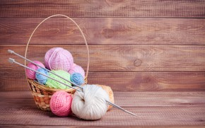 Picture basket, cotton, spokes, basket, wooden background, knitting, yarn