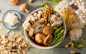 Picture mushrooms, plate, cuts
