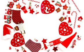 Picture winter, white, background, holiday, toys, Christmas, hearts, composition