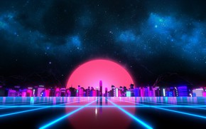 Picture Music, Style, Background, City, Sky, Stars, Art, 80s, Sun, Style, Night, Neon, Illustration, 80's, Synth, …