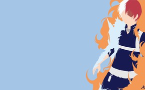 Picture background, fire, minimalism, guy, vector graphics, My Hero Academia, Boku No Hero Academy, My Hero …