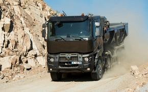 Picture movement, dust, Renault, body, dump truck, four-axle, Renault Trucks, K-series