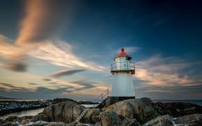 Picture Lofoten, The Lofoten Islands, ladder, sea, Norway, lighthouse, stones, sunset