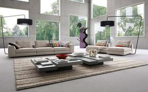 Picture design, style, Villa, interior, living room, Roche Bobois