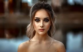 Picture look, model, portrait, makeup, hairstyle, beauty, bokeh, Christina, bare shoulders, Andrey Metelkov