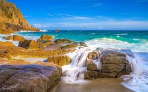 Picture stones, the ocean, rocks, coast, England, England, Cornwall, Cornwall, The Atlantic ocean, Atlantic Ocean