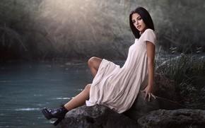 Picture water, girl, pose, lake, makeup, shoes, Carolina, Javier Ullastres