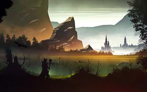 Picture mountains, castle, rocks, pond, Northern Kingdom