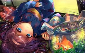 Picture aquarium, girl, goldfish