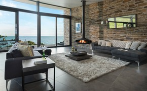 Picture interior, fireplace, terrace, living room, Modern House, by ARCO2 Architecture