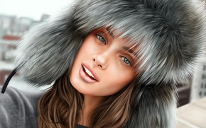 Picture winter, girl, smile, model, hat, Taylor Hill
