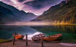 Picture mountains, lake, boats, Austria, Alps, Austria, Alps, Jägersee