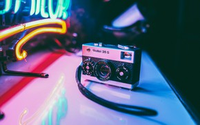 Picture photo, table, neon, Germany, the camera, the camera, small, Rollei 35