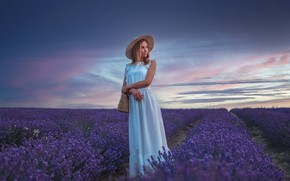 Picture field, look, girl, dress, blonde, lavender, Gregory Levin
