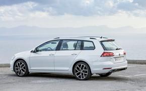 Picture shore, Volkswagen, Parking, universal, 2017, Golf Variant, white-gray