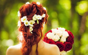 Picture girl, roses, bouquet, hairstyle, red, bokeh