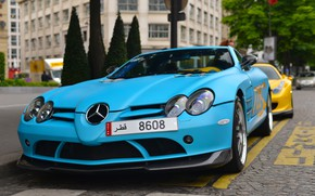 Picture McLaren, SLR, blue, Mercedes - Benz, SLR McLaren, 722 Edition, London, matte