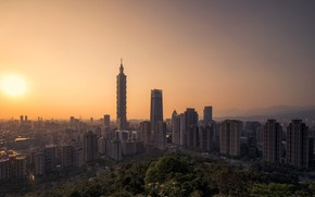 Picture sunset, skyscraper, home, panorama, Taiwan, Taipei