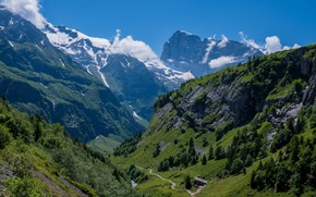 Picture road, mountains, gorge, house