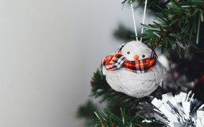 Picture winter, branches, holiday, toy, Christmas, New year, penguin, tree, grey background, needles, scarf, penguin, hanging, …