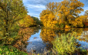 Picture autumn, the sky, the sun, clouds, trees, pond, Park, HDR, yellow, Ekateringof, Park Ekaterinhof