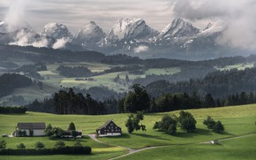 Picture mountains, home, valley