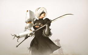 Picture girl, background, the game, katana, Nier Automata