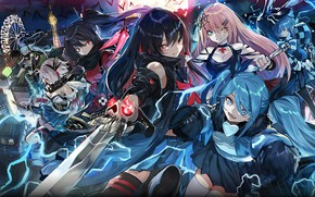 Picture night, girls, the moon, sword, Witch Weapon