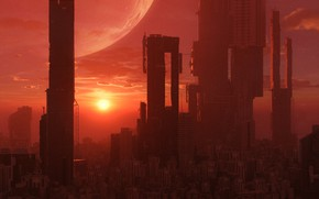 Picture Sunset, The sun, The city, Star, Style, Skyscrapers, Building, City, Fantasy, Star, Skyscraper, Art, Graphics, …