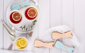 Picture lemon, tea, cookies