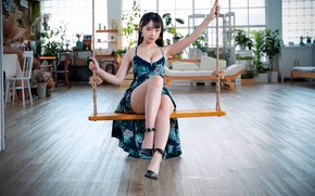 Picture look, girl, swing, dress, legs, Asian