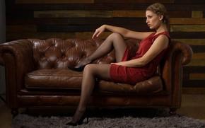 Picture girl, pose, sofa, feet, stockings, dress, tights, mesh