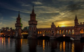 Picture bridge, the city, river, the evening, Germany, lighting, tower, Berlin, Spree, Oberbaum