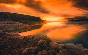 Picture forest, sunset, mountains, river, stones, shore, the evening, pond, sunset sky