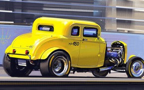 Picture Auto, Yellow, Machine, Art, Auto, Hot Rod, 450, Hot rod, Alexander Sidelnikov, by Aleksandr Sidelnikov