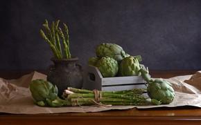 Picture paper, table, pot, the beam, still life, box, asparagus, amphora, ceramics, artichokes