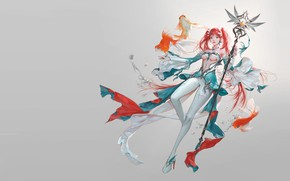 Picture magic, fish, fantasy, art, staff, koi, Russian Blue, Summoner