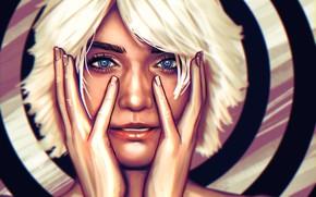 Picture Girl, Face, Eyes, Hands, Art, Illustration, White hair, Comic Art, by Ben Vazquez, Ben Vazquez