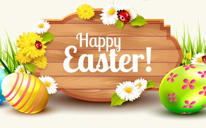 Picture flowers, rendering, eggs, spring, Easter, colorful, Easter