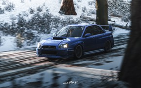 Picture Subaru, Impreza, Microsoft, game art, Forza Horizon 4, by Wallpy