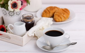 Picture coffee, Breakfast, milk, tray, croissant